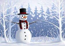 Sneeuwman op snow-covered open plek in bos de de wintervakantie Kerstmis en Nieuwe jaarillustratie Royalty-vrije Stock Foto's