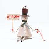 Sneeuwman op wit Stock Foto's