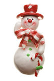 Sneeuwman op wit wordt geïsoleerd dat Royalty-vrije Stock Fotografie