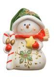 Sneeuwman op wit wordt geïsoleerd dat Royalty-vrije Stock Afbeeldingen