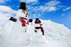 Sneeuwman twee Stock Afbeelding