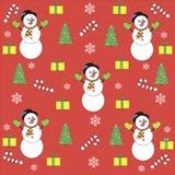 Sneeuwman van het patroon de nieuwe jaar Royalty-vrije Stock Afbeelding
