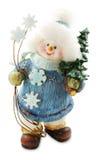 Sneeuwman van Kerstmis met de Geïsoleerde Kerstmisboom Stock Fotografie