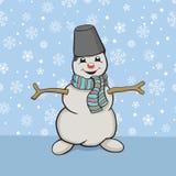 Sneeuwman Vector tekening Royalty-vrije Stock Foto