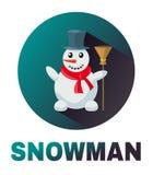 Sneeuwman vectorpictogram Royalty-vrije Stock Afbeeldingen