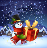 sneeuwman, wintertijdachtergrond Royalty-vrije Stock Fotografie