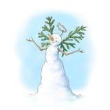 Sneeuwmanengel stock illustratie