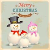 Sneeuwmanfamilie op Retro Kerstmisachtergrond Royalty-vrije Stock Afbeeldingen