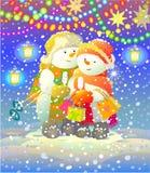 Sneeuwmannen stock illustratie