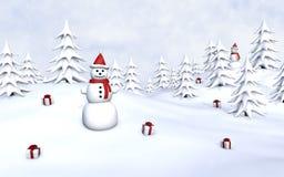 Sneeuwmannen en Giften Stock Afbeelding