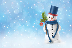 Sneeuwmannen, Kerstkaart Stock Afbeeldingen