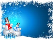 Sneeuwmannen met Kerstmisgiften Stock Afbeeldingen