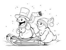 Sneeuwmannen op slee De activiteiten van de winter Stock Fotografie