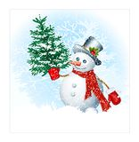 Sneeuwmannen op sneeuwachtergrond Royalty-vrije Stock Foto's