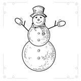 Sneeuwmannen op witte achtergrond worden geïsoleerd die Royalty-vrije Stock Afbeelding