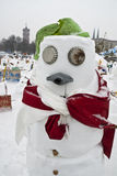Sneeuwmannen tegen het Globale Verwarmen Stock Afbeeldingen