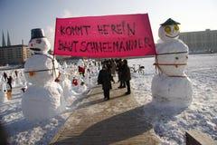 Sneeuwmannendemonstratie Stock Foto