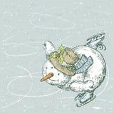 Sneeuwmanschaatser Stock Foto