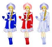 Sneeuwmeisje in drie kleuren stock afbeeldingen