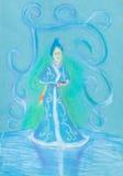 Sneeuwmeisje op blauw ijs Stock Afbeelding