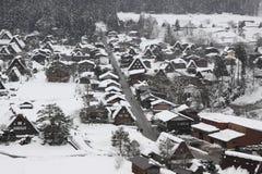 Sneeuwmening in Shirakawago, Nagoya in de Winter Royalty-vrije Stock Foto's