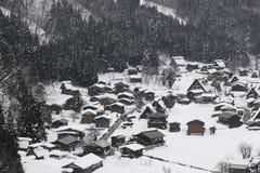 Sneeuwmening in Shirakawago, Nagoya in de Winter Royalty-vrije Stock Afbeelding