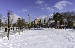 Sneeuwmening van Hagia Sophia in Istanboel, Turkije Royalty-vrije Stock Afbeelding