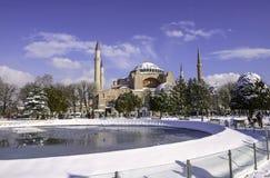 Sneeuwmening van Hagia Sophia in Istanboel, Turkije Royalty-vrije Stock Afbeeldingen