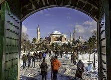 Sneeuwmening van Hagia Sophia in Istanboel, Turkije Stock Fotografie