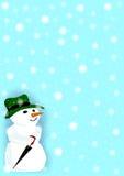 Sneeuwmens in een Sneeuwonweer Stock Fotografie