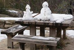 Sneeuwmens en Sneeuwdame Stock Afbeelding