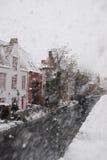 Sneeuwonweer in Brugge, België royalty-vrije stock foto's