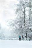 Sneeuwonweer in het Oekraïense kapitaal Stock Afbeeldingen