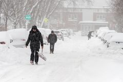 Sneeuwonweer Stella in Montreal royalty-vrije stock afbeeldingen