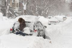 Sneeuwonweer Stella in Montreal royalty-vrije stock foto