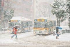 Sneeuwonweer in Yokohama, Japan Stock Foto