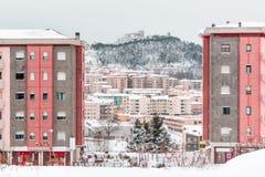 Sneeuwpanorama van Campobasso Stock Afbeeldingen