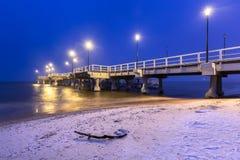 Sneeuwpijler bij Oostzee in Gdansk royalty-vrije stock foto's