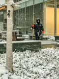 Sneeuwplicht in Manhattan New York 21 Maart 2018 Stock Afbeeldingen
