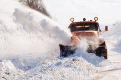Sneeuwploeg op het werk Royalty-vrije Stock Foto's