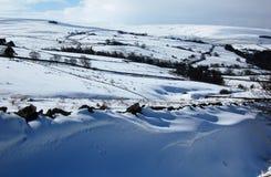 Sneeuwscène dichtbij Allendale, Northumberland, Engeland Stock Afbeeldingen