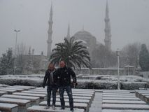 Sneeuwscène in Istanboel Royalty-vrije Stock Foto