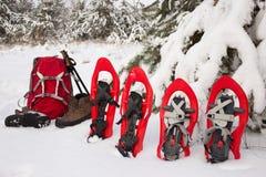 Sneeuwschoenen en een rugzak die zich dichtbij spar bevinden Royalty-vrije Stock Afbeeldingen