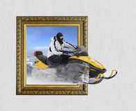 Sneeuwscooter in kader met 3d effect Royalty-vrije Stock Afbeeldingen