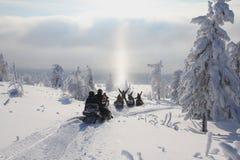 Sneeuwscooters stock foto's