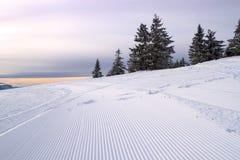 Sneeuwscootersporen op de helling stock afbeeldingen