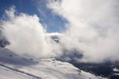Sneeuwski slope in Lenk, Adelboden, Zwitserland stock fotografie