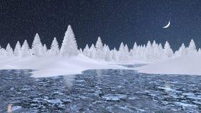 Sneeuwsparren en bevroren meer bij de winternacht Stock Foto's