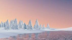 Sneeuwsparren en bevroren meer bij zonsondergang Royalty-vrije Stock Afbeeldingen