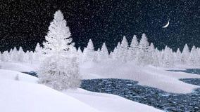 Sneeuwsparren en bevroren rivier bij sneeuwvalnacht Royalty-vrije Stock Afbeeldingen
